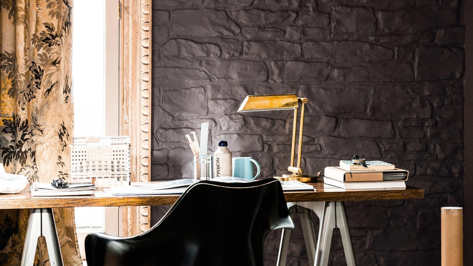 Add glamour to your home office with a decedent colour scheme of chocolate brown and luminous gold.