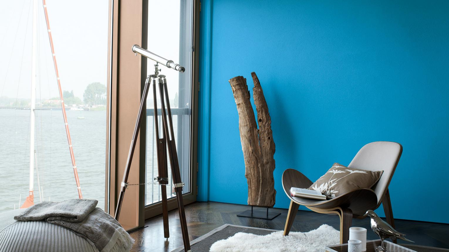 The colour of a swimming pool on a hot summer's day, cerulean blue works as an accent in all rooms of the home.
