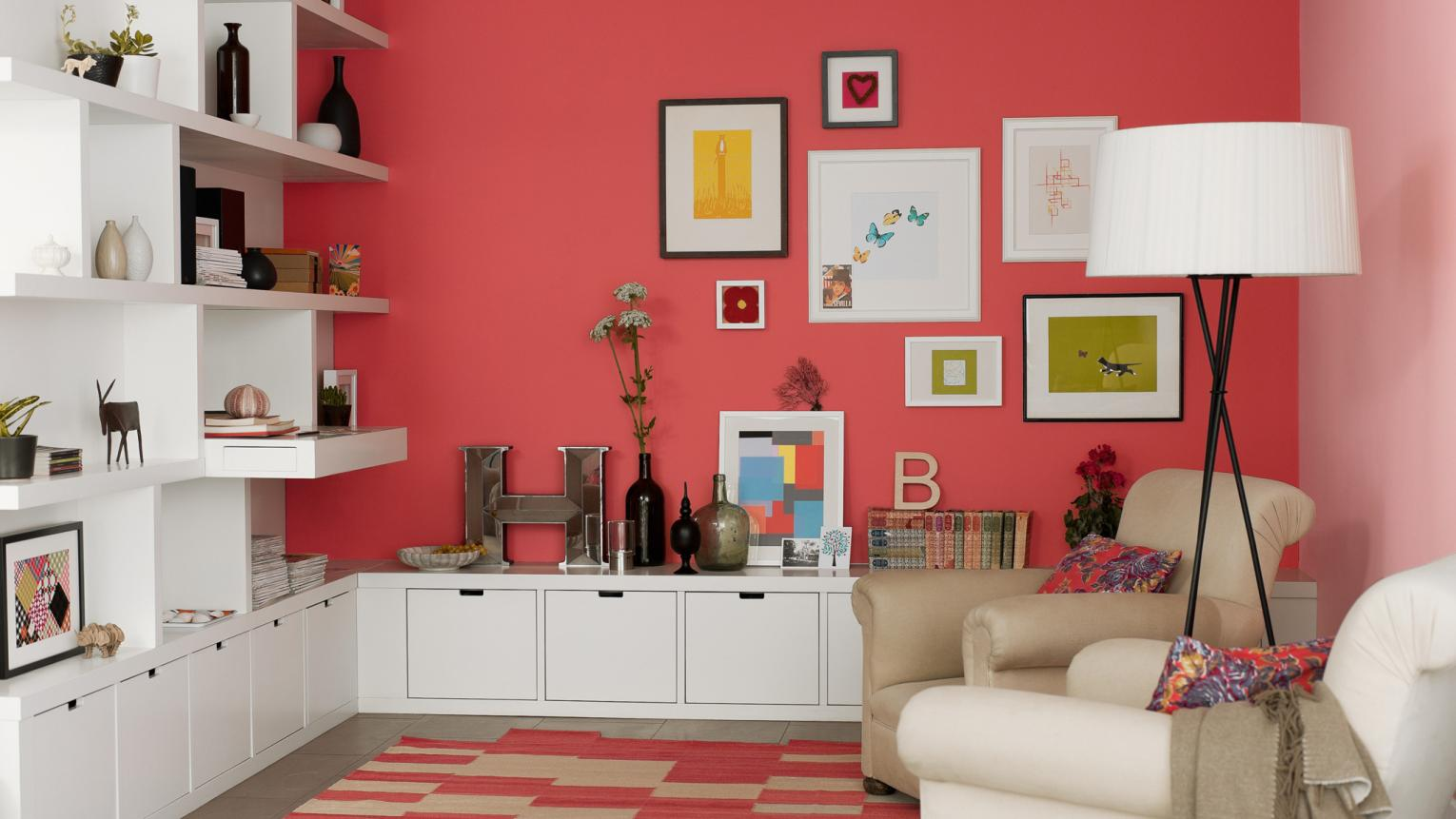Make a bold statement with red in your living room