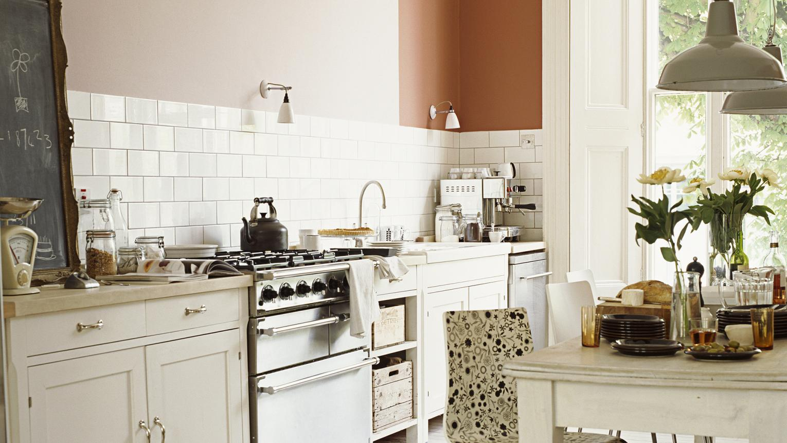 Opt for soft white in an English country style kitchen