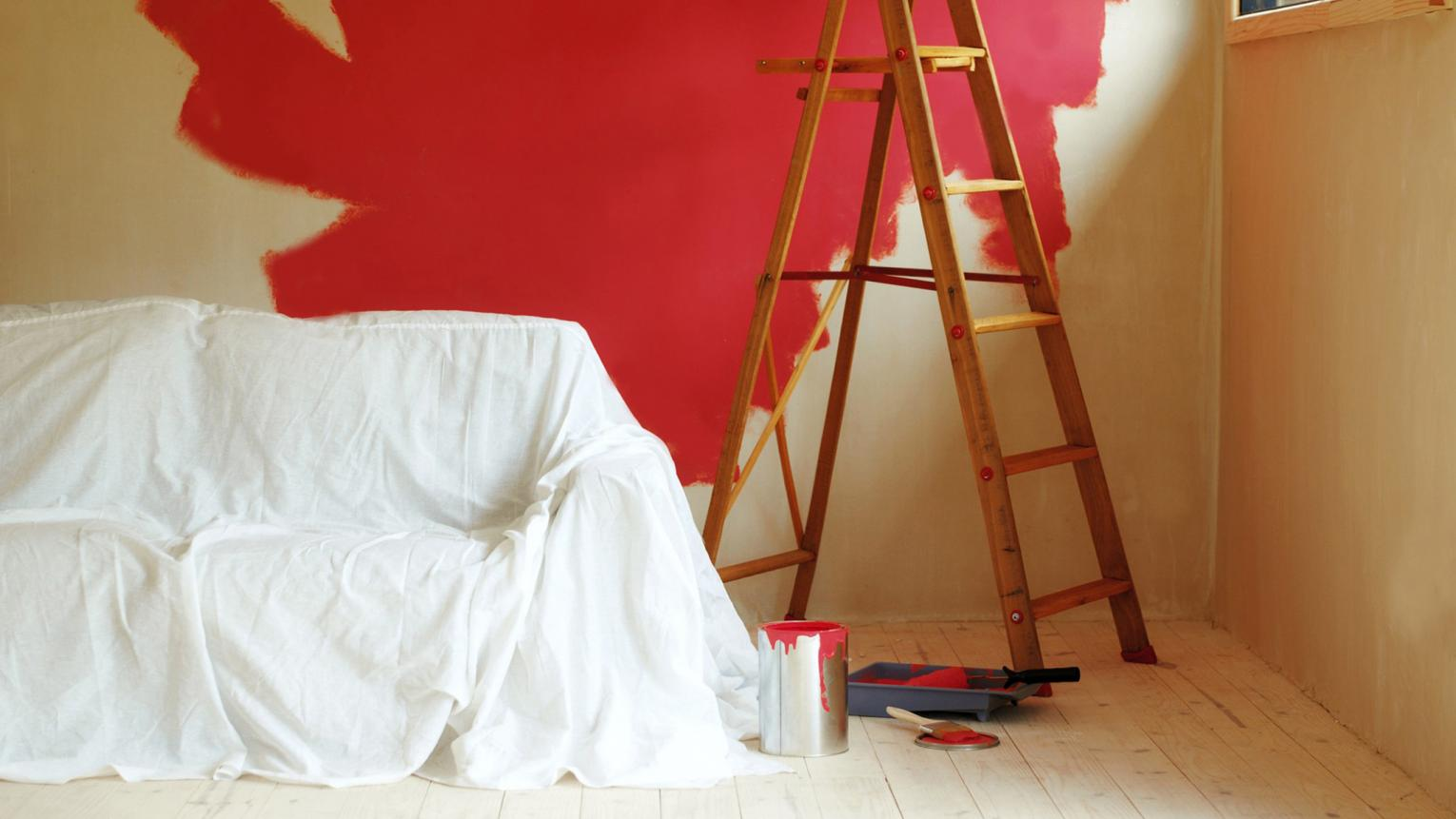 Protect your room when decorating with dustsheets to cover furniture that can't be moved.