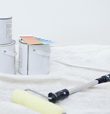 Professional painting equipment on dustsheet.